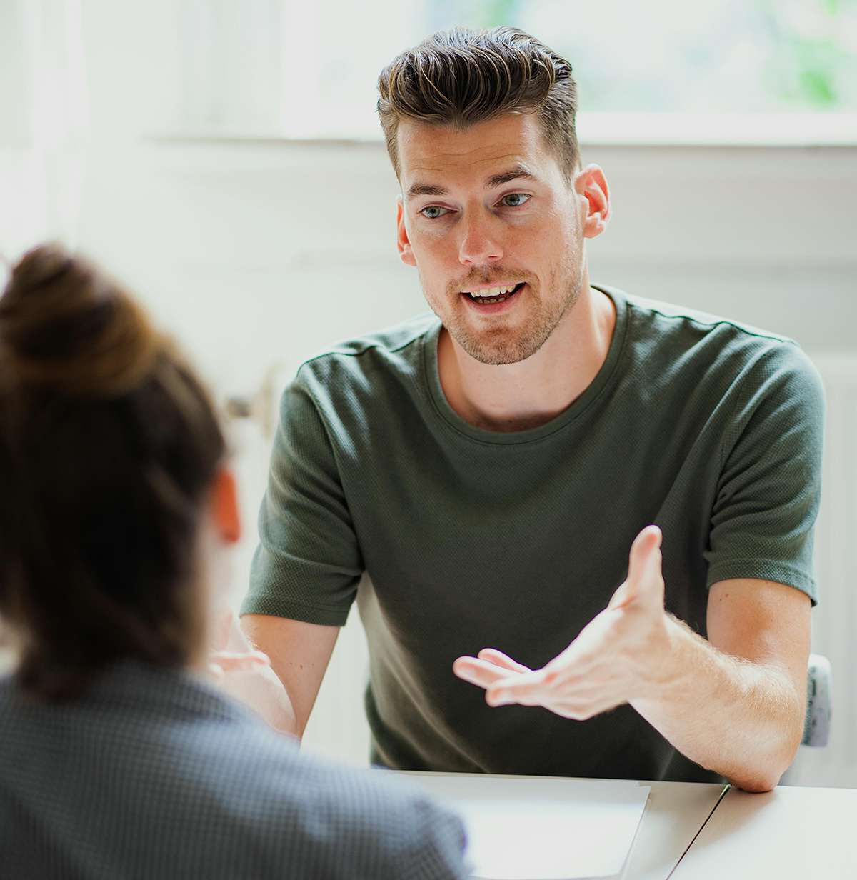 San van der Meer als coach in gesprek